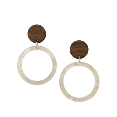 Pearl Circle Dangle Studs - graceandwoodco