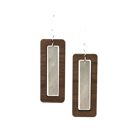 Walnut Wood Rectangle and Pearl Acrylic Celluloid Hinged Earrings - graceandwoodco