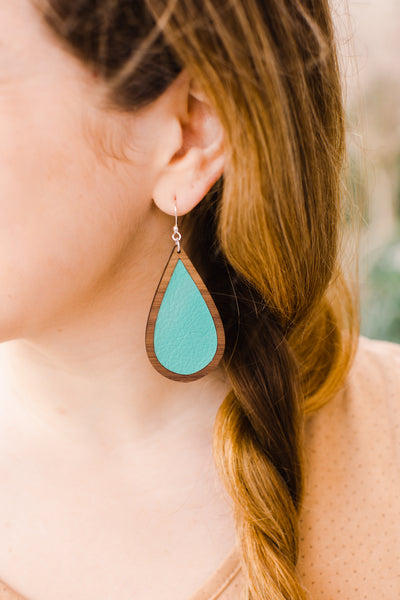 Teal Wood + Leather Teardrop Earrings