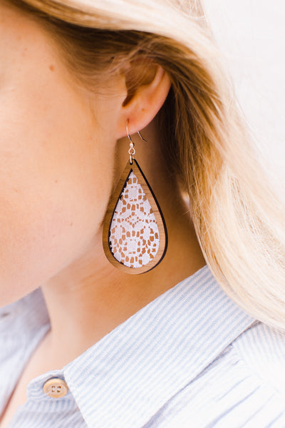 Wood + Eyelet Lace Teardrop Earrings - graceandwoodco
