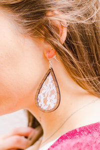 Wood + Wedding Lace Teardrop Earrings