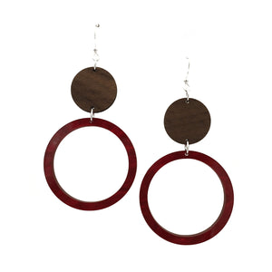 Walnut Wood Circle and Red Acrylic Celluloid Hollow Circle Hinged Earrings - graceandwoodco