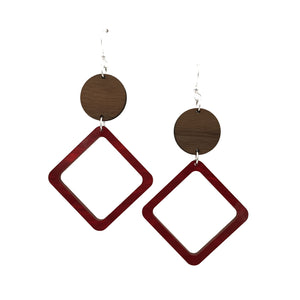 Walnut Wood Circle and Red Acrylic Celluloid Hollow Diamond Hinged Earrings - graceandwoodco