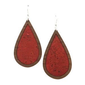 Red Orange Wood + Cork Teardrop Earrings - graceandwoodco