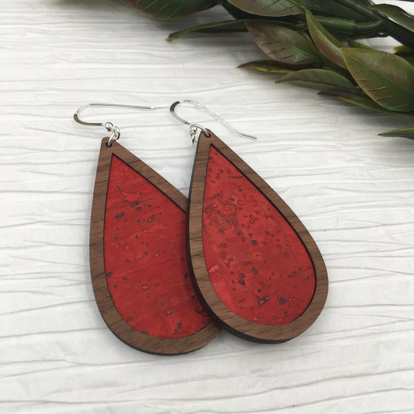 Red Orange Wood + Cork Teardrop Earrings