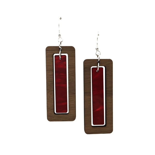 Walnut Wood Rectangle and Red Acrylic Celluloid Hinged Earrings - graceandwoodco