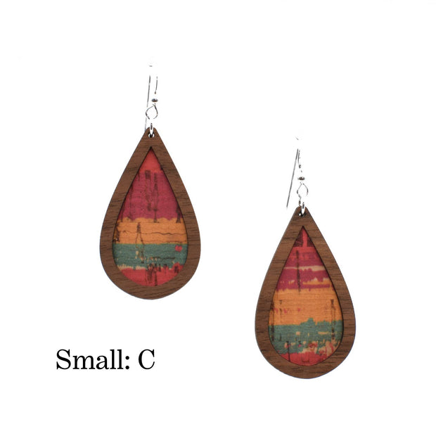 Sunset Wood + Leather Teardrop Earrings - Grace and Wood Co.