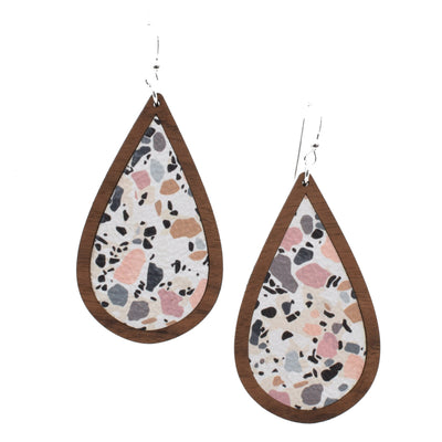 Terrazzo Wood + Leather Teardrop - Grace and Wood Co.