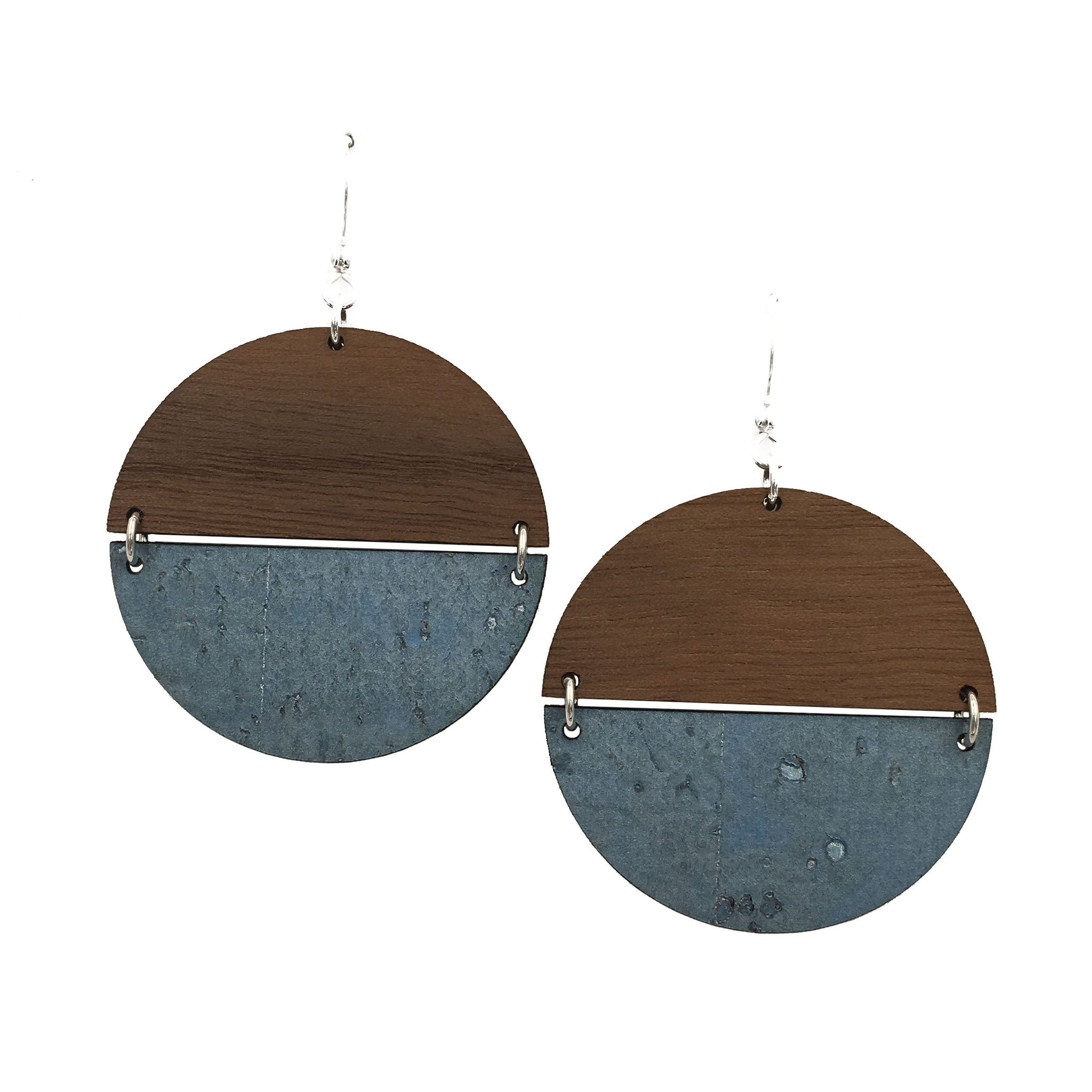 Walnut Wood and Steel Blue Cork Disc Hinged Earrings - graceandwoodco