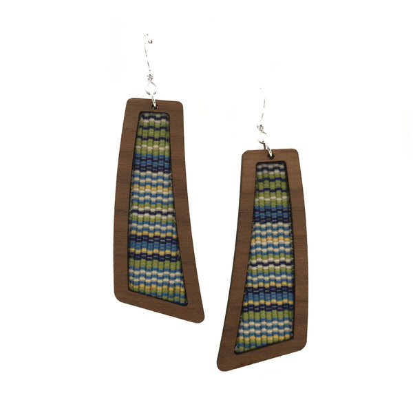 Summer Stripes Wood + Fabric Flare Earrings - graceandwoodco