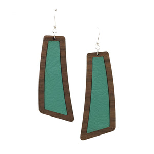 Teal Wood+Leather Flare Earrings - graceandwoodco
