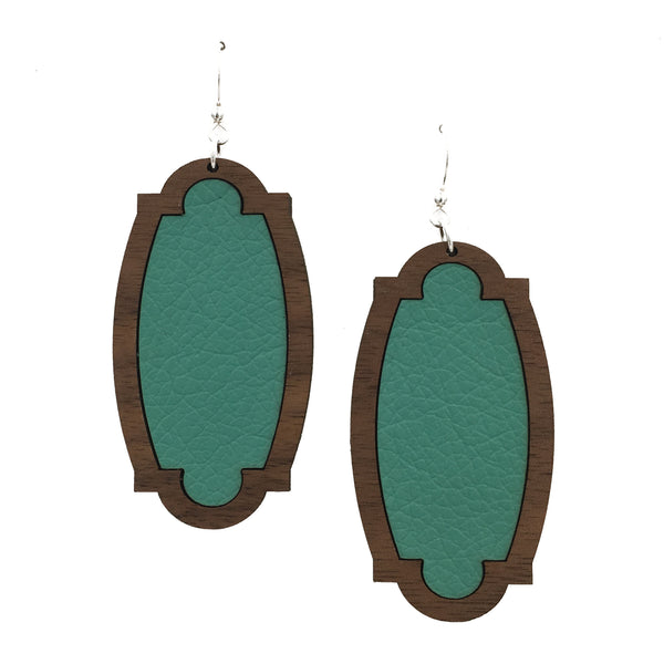 Teal Wood + Leather Heirloom Earrings