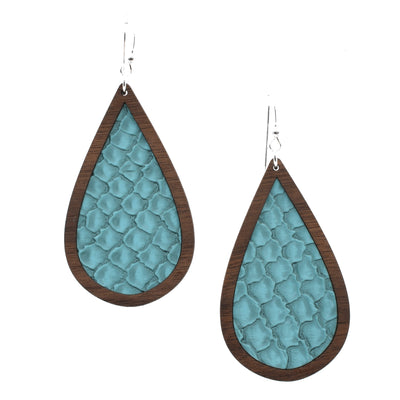 Turquoise Snakeskin Wood + Leather Teardrop