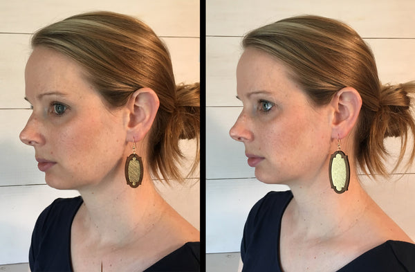 Navy Wood + Leather Heirloom Earrings - Grace and Wood Co.