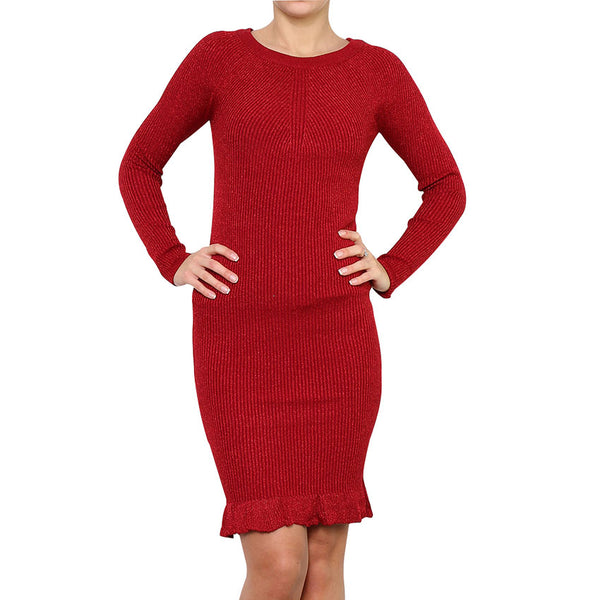 Robe Pull Manches longues Maille Tricot Rouge