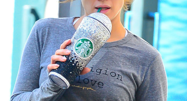 Jennifer Lopez's Starbucks Tumbler BeJAZZLED with Swarovski Crystals!