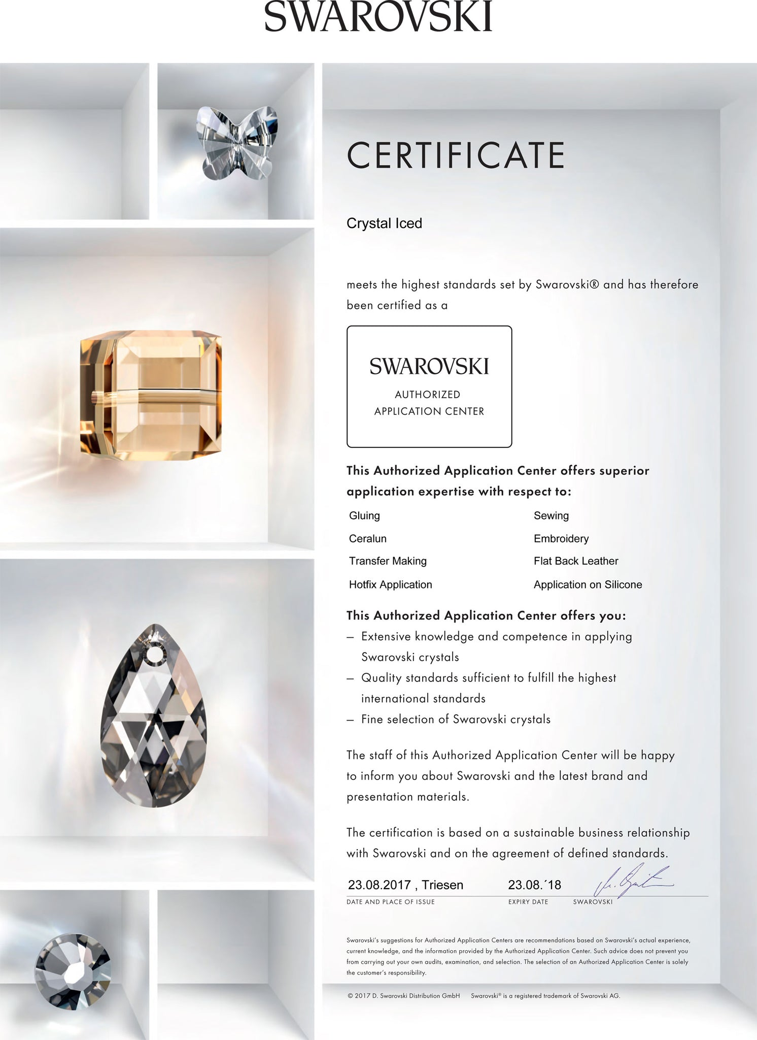 Swarovski Application Centre Certificate