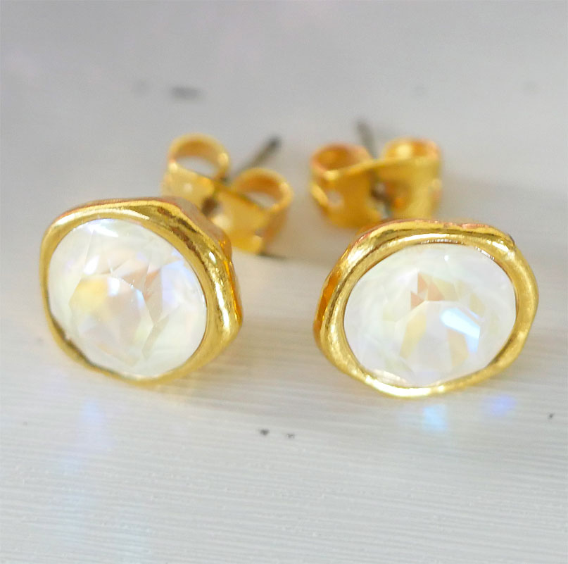 Crystal Iced Crystal Iced Gold Plated Earring Studs In Light Grey