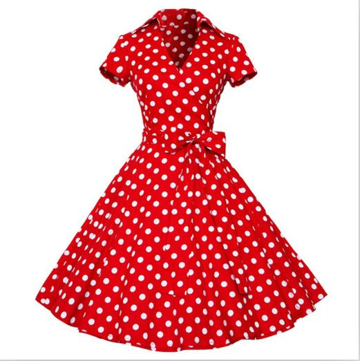 'Audrey' Rockabilly Polka Dot Bow Dress