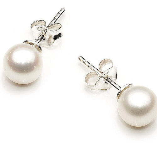 'Delight Me' Vintage FreshwaterPearl Stud Earrings Genuine 925 Sterling Silver