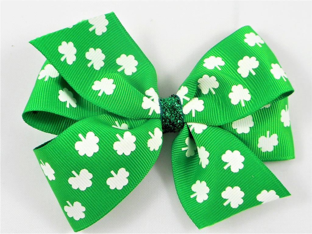 St. Patrick's Day Shamrock Irish Boutique hair bow missy moo designs