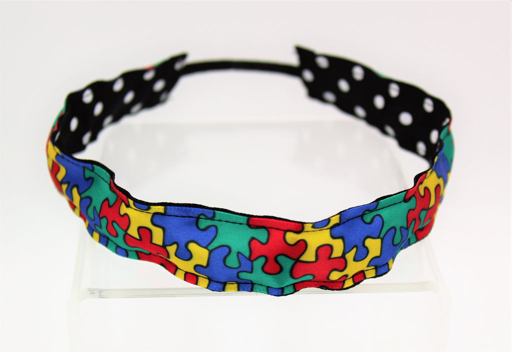 autism awareness stretch reversible headband polka dots missy moo designs