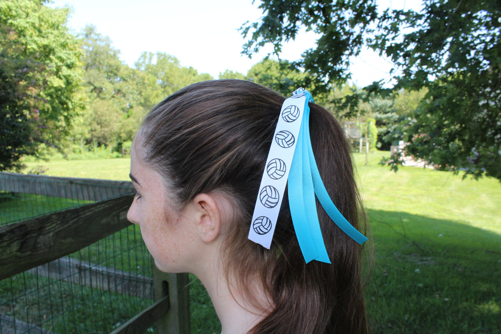 volleyball ponytail ribbon hair tie missy moo designs