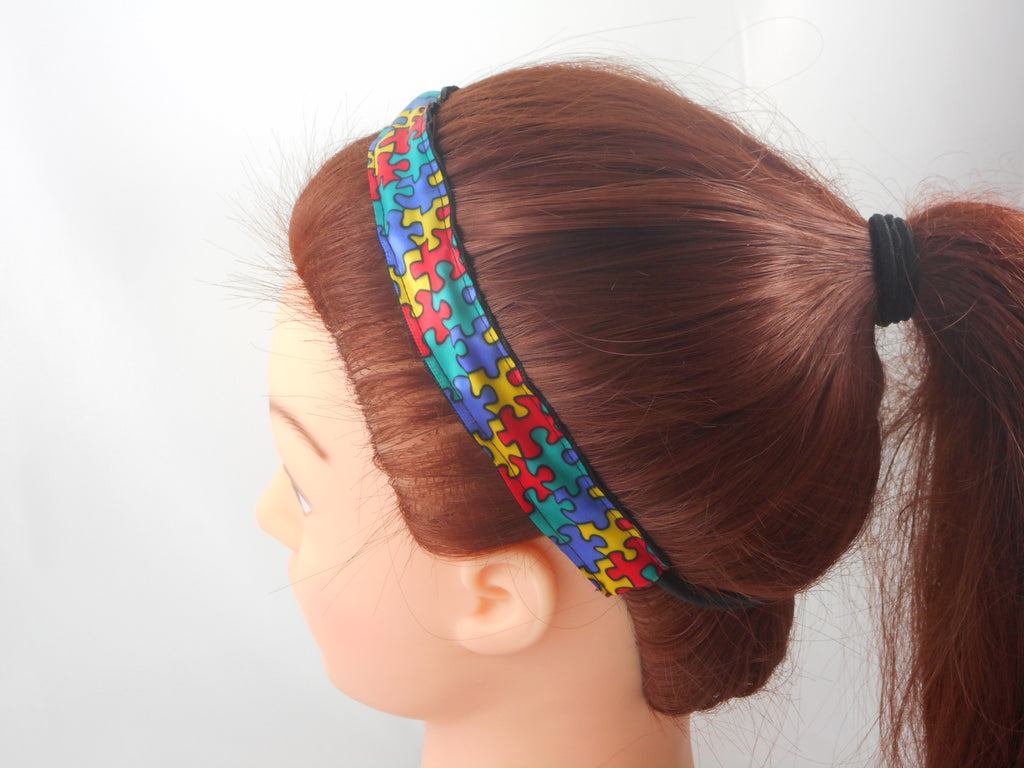 autism awareness stretch reversible headband missy moo designs