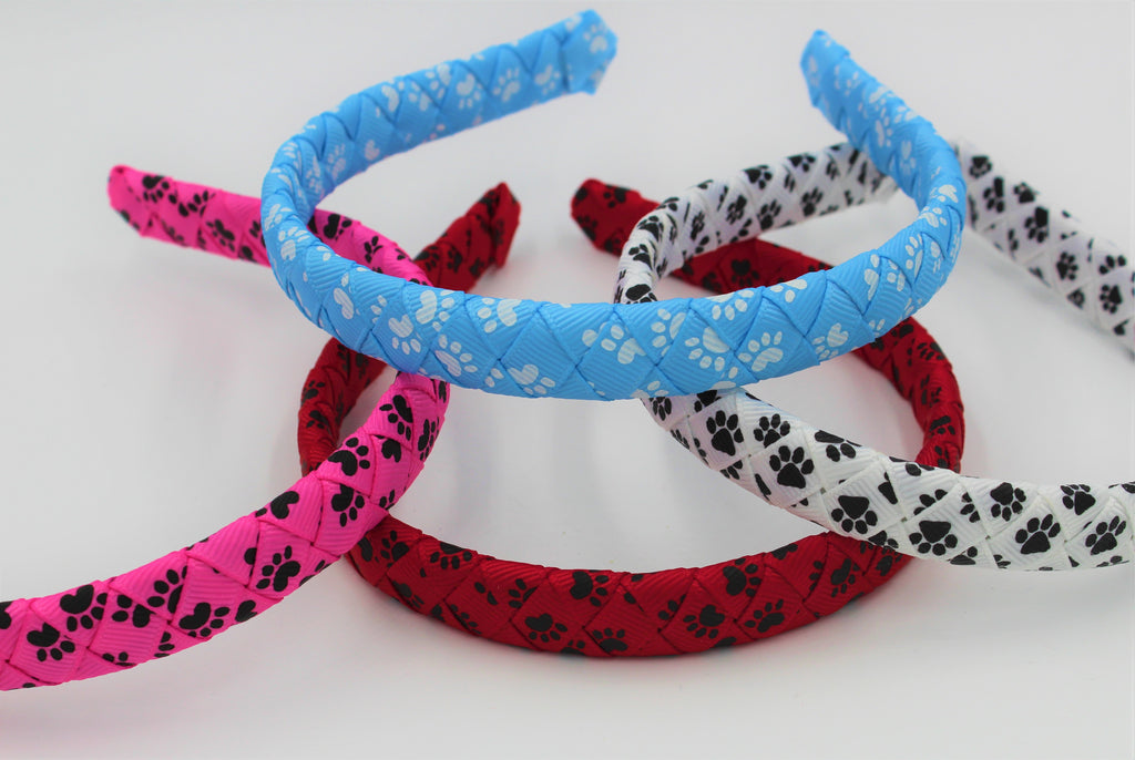 paw print headband, paw print ribbon, missy moo designs, wholesale accessories