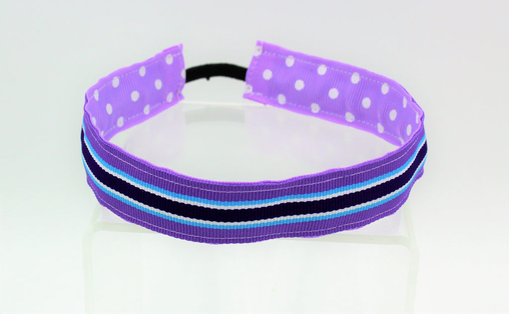 Stretch Reversible Headband - Purple Preppy