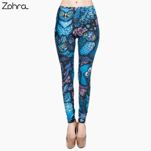 Zohra New Hot Night Owl Full Printing Pants Women Clothing Ladies fitness Legging Stretchy Trousers Skinny Leggings - That New Trend