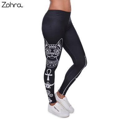 Zohra High Elasticity Egyptian cat symbols Printed Fashion Slim fit Legging Workout Trousers Casual Pants Leggings for Women - That New Trend