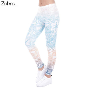 Zohra Brand Hot Sales Leggings Mandala Mint Print Fitness legging High Elasticity Leggins Legins Trouser Pants for women - That New Trend