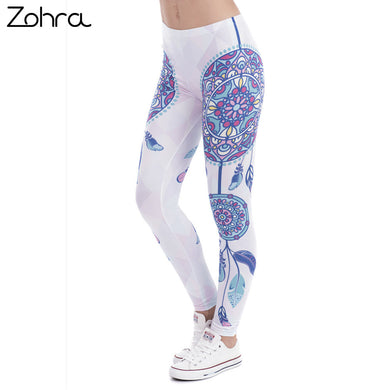 Zohra Brand Fashion Women Legins Mandala Feathers Printing Sexy Slim Stretch Legging High Waist Leggings Woman Pants - That New Trend