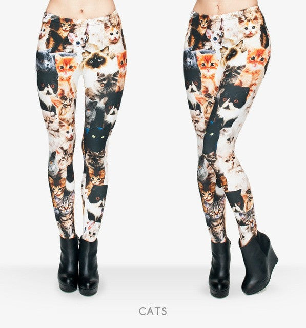 Zohra Fashion Animal Shapes Cats 3D Full Printing Punk Women Legging Slim Fit Trousers Casual Pants Leggings - That New Trend