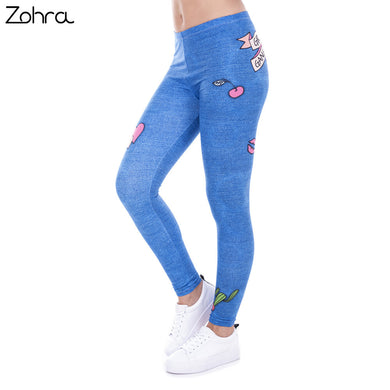 Zohra Fashion Legging Female Gang Jeans Design Legins Denim Blue Leggins Printed 100% Brand New Women Leggings Women Pants - That New Trend