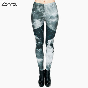 Zohra Brand Night Moon 3D Printing Our world Legging Punk Women Legins Stretchy Trousers Casual Pants Leggings - That New Trend