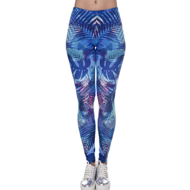 Zohra New Fashion Women Leggings Tropical Leaves Printing Blue Fitness Legging Sexy Silm Legins High Waist Stretch Trouser Pants - That New Trend