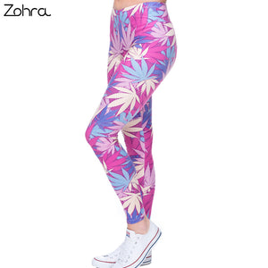 Zohra Fashion Sexy Leggings Women Weeds Print Pink Fitness Legging Silm Stretch Leggins High Waist Legins Trouser Casual Pants - That New Trend