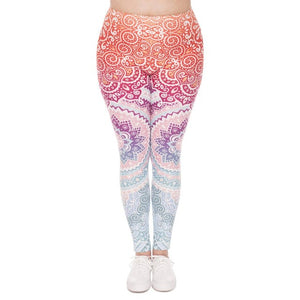 Zohra Plus Size Women Leggings Aztec Round Ombre Printing Stretch High Waist  Large Size Trousers Pants For Plump Women - That New Trend