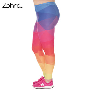 Zohra Fashion Large Size Leggings Triangles Rainbow Printed High Waist Leggins Plus Size Trousers Stretch Pants For Plump Women - That New Trend