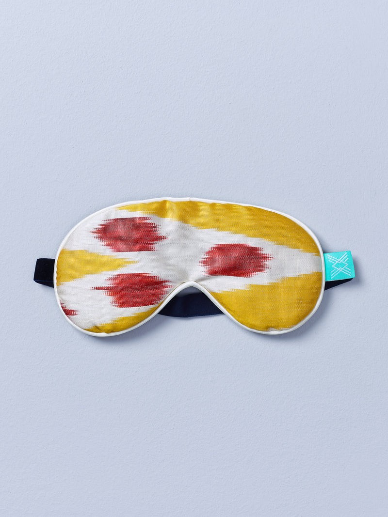 sunset silk ikat eye mask with lavender by nomad design