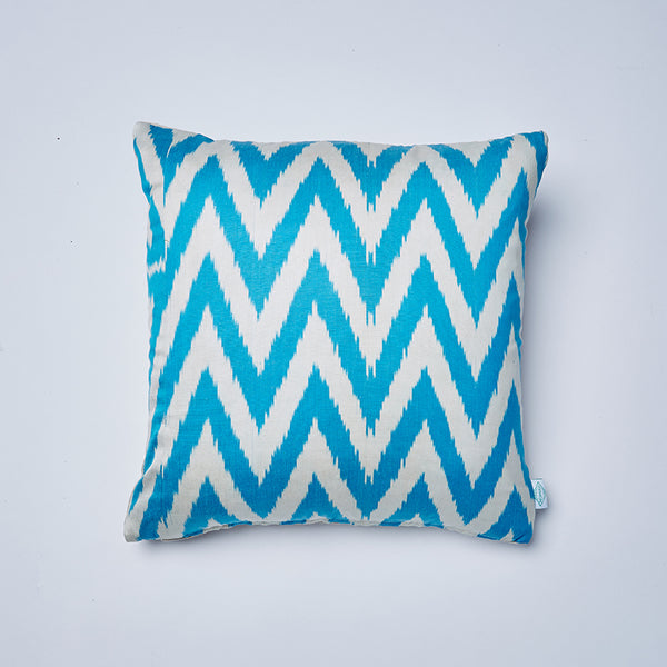 electric blue franike ikat cushion by nomad design