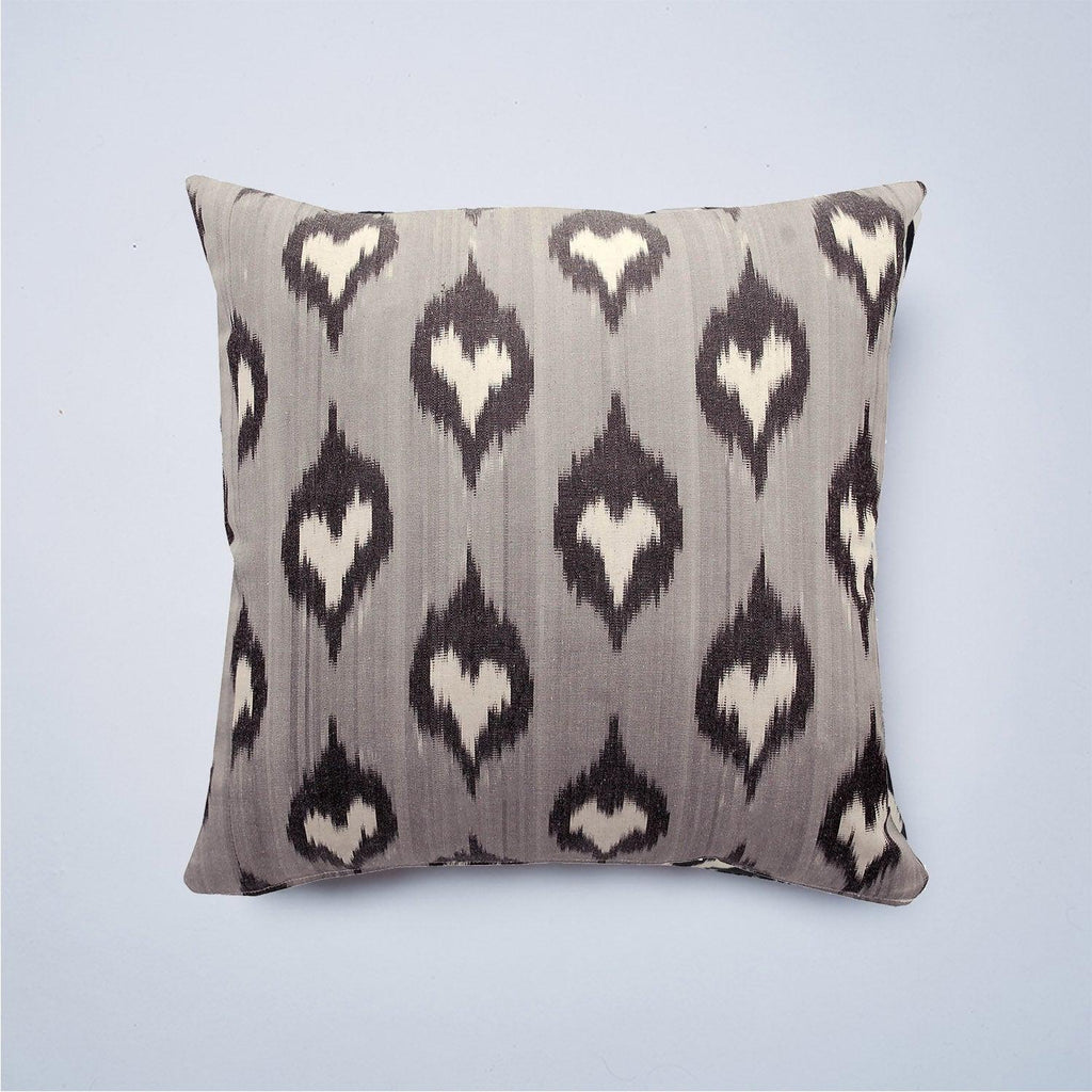 Grey Spades Silk Ikat Cushion