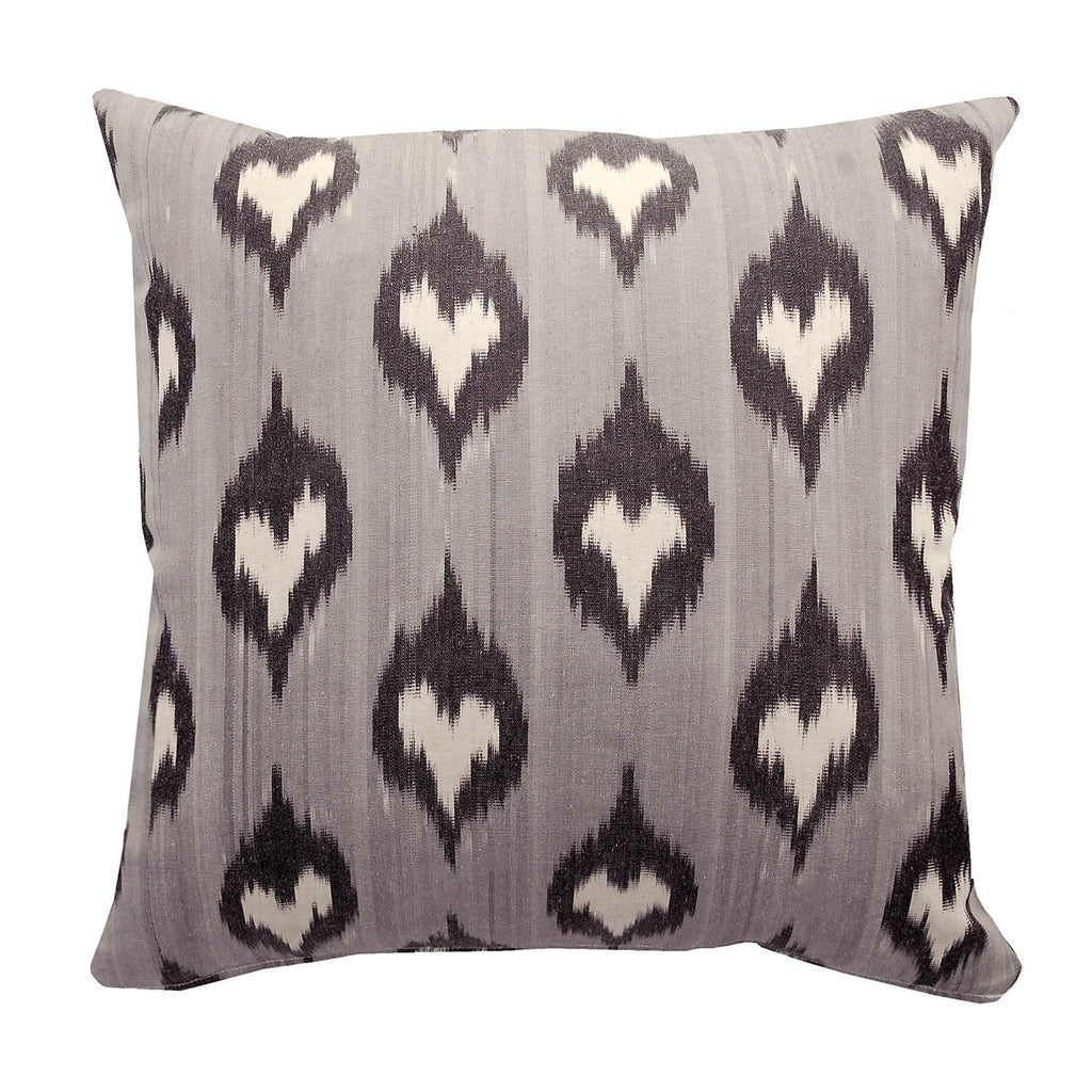 Grey Spades Ikat Cushion