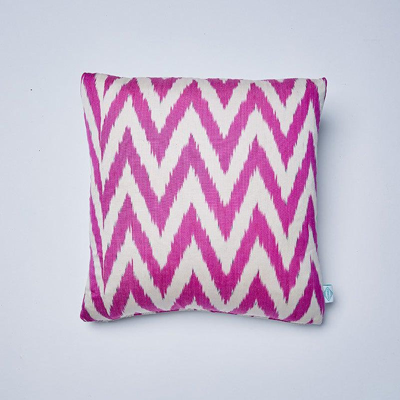 Raspberry Frankie Silk Ikat Cushion