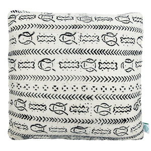 White Fish Mudcloth Cushion