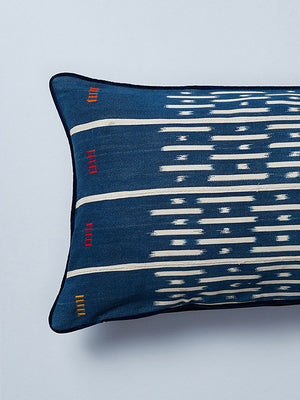 velvet backed baulé ikat cushion by nomad design