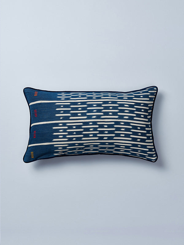 baulé ikat cushions detail shot by nomad design