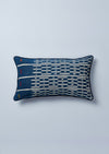 Indigo, White and Yellow Baulé Ikat cushion nomad design